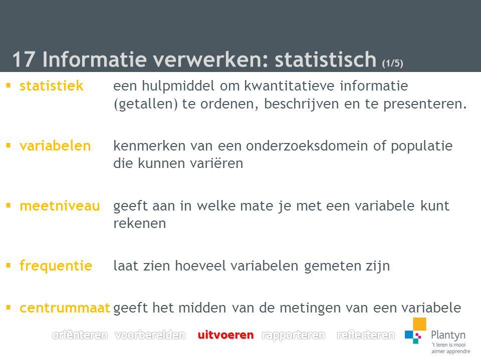 17 Informatie verwerken: statistisch (1/5)
