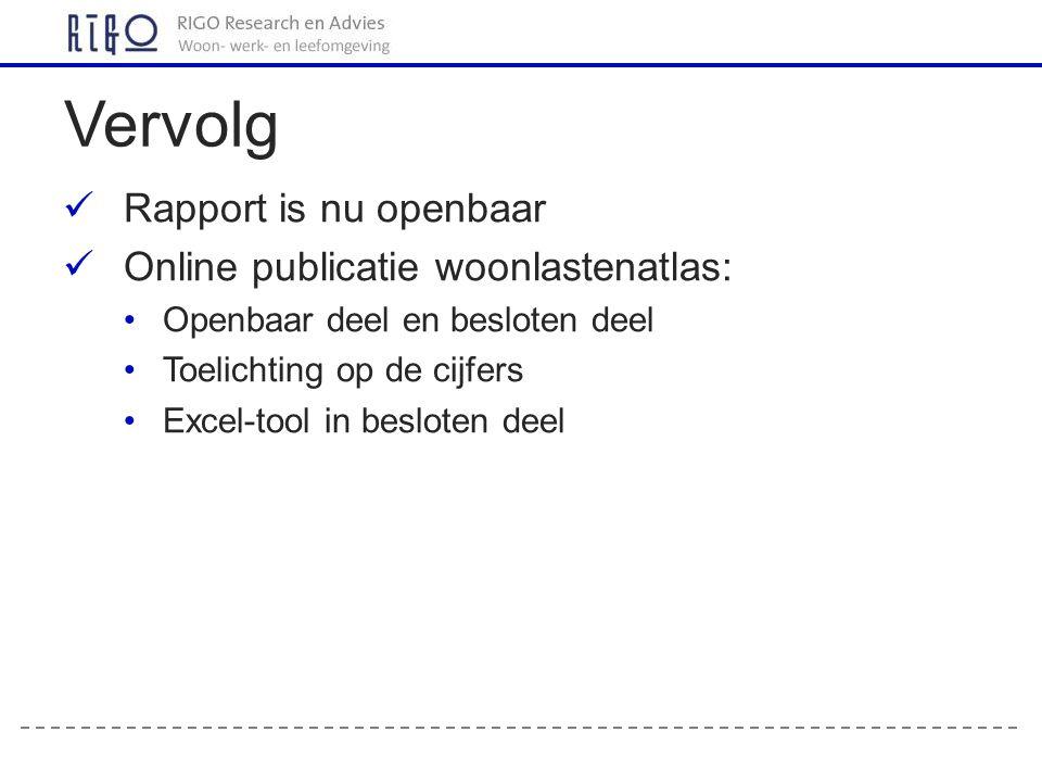 Vervolg Rapport is nu openbaar Online publicatie woonlastenatlas: