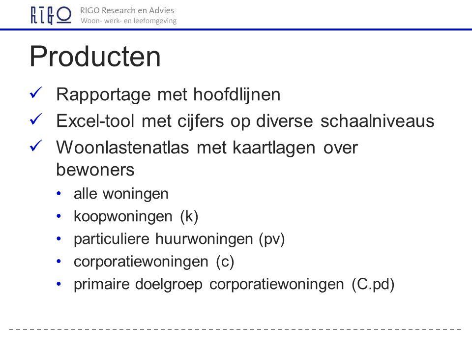 Producten Rapportage met hoofdlijnen