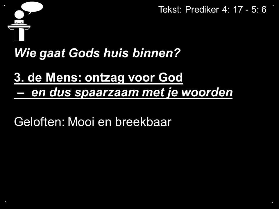 Wie gaat Gods huis binnen 3. de Mens: ontzag voor God