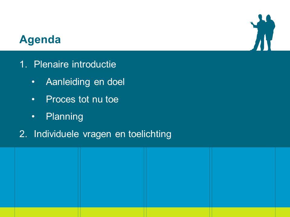 Agenda Plenaire introductie Aanleiding en doel Proces tot nu toe