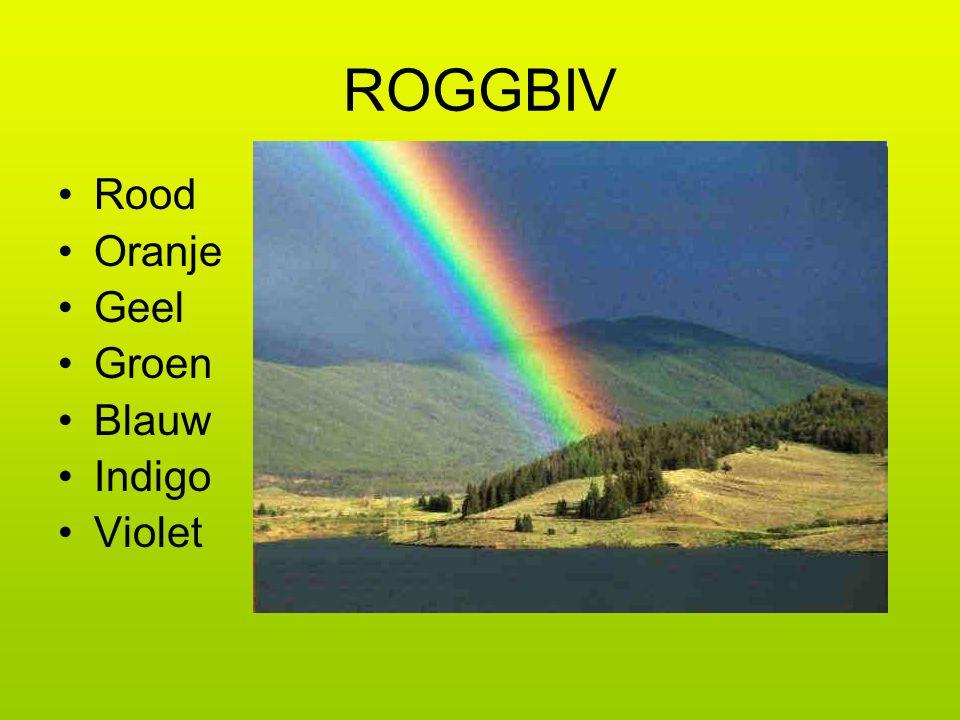 ROGGBIV Rood Oranje Geel Groen Blauw Indigo Violet