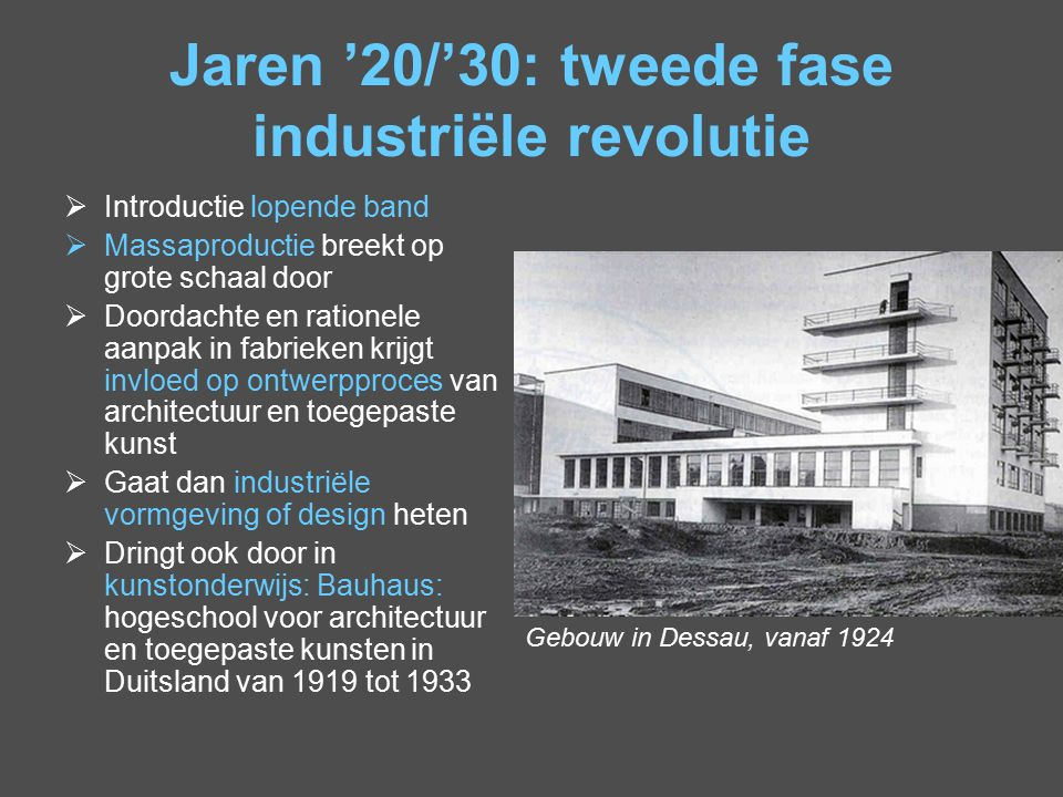 Jaren '20/'30: tweede fase industriële revolutie