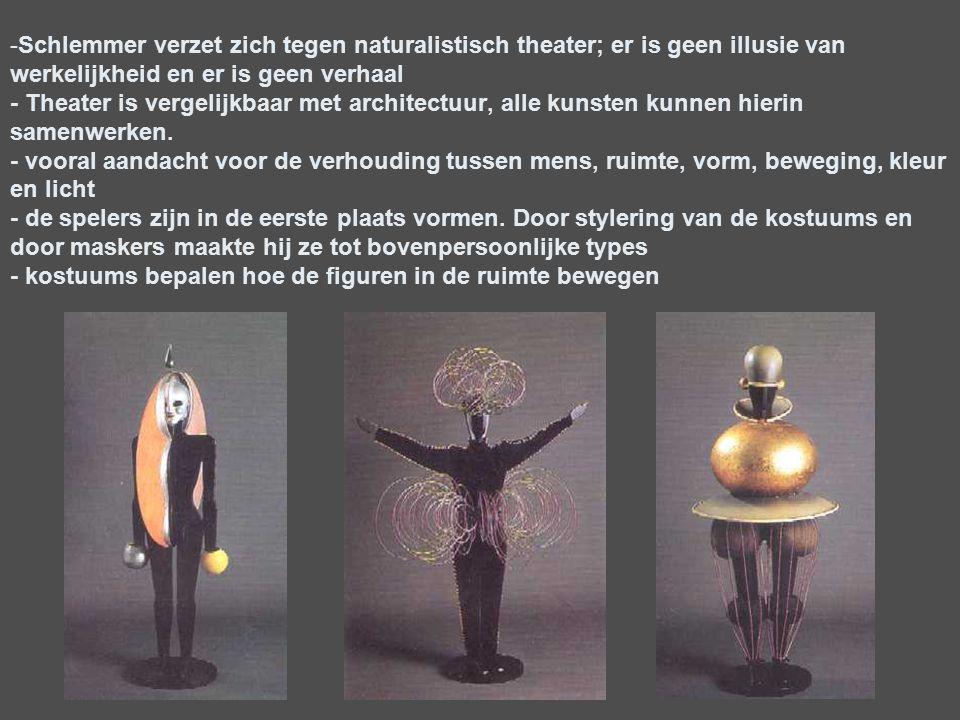 Schlemmer verzet zich tegen naturalistisch theater; er is geen illusie van werkelijkheid en er is geen verhaal - Theater is vergelijkbaar met architectuur, alle kunsten kunnen hierin samenwerken.
