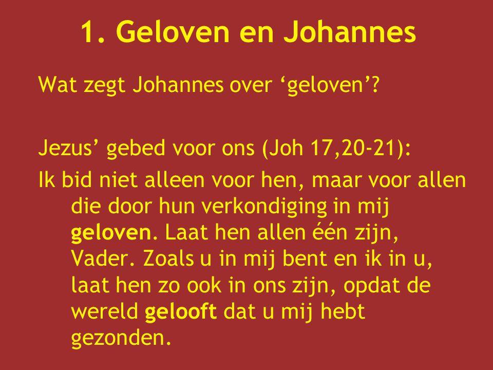 1. Geloven en Johannes Wat zegt Johannes over 'geloven'