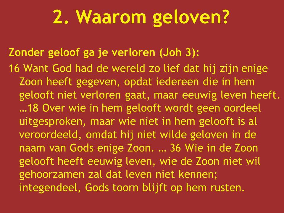 2. Waarom geloven Zonder geloof ga je verloren (Joh 3):