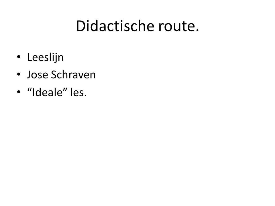 Didactische route. Leeslijn Jose Schraven Ideale les.