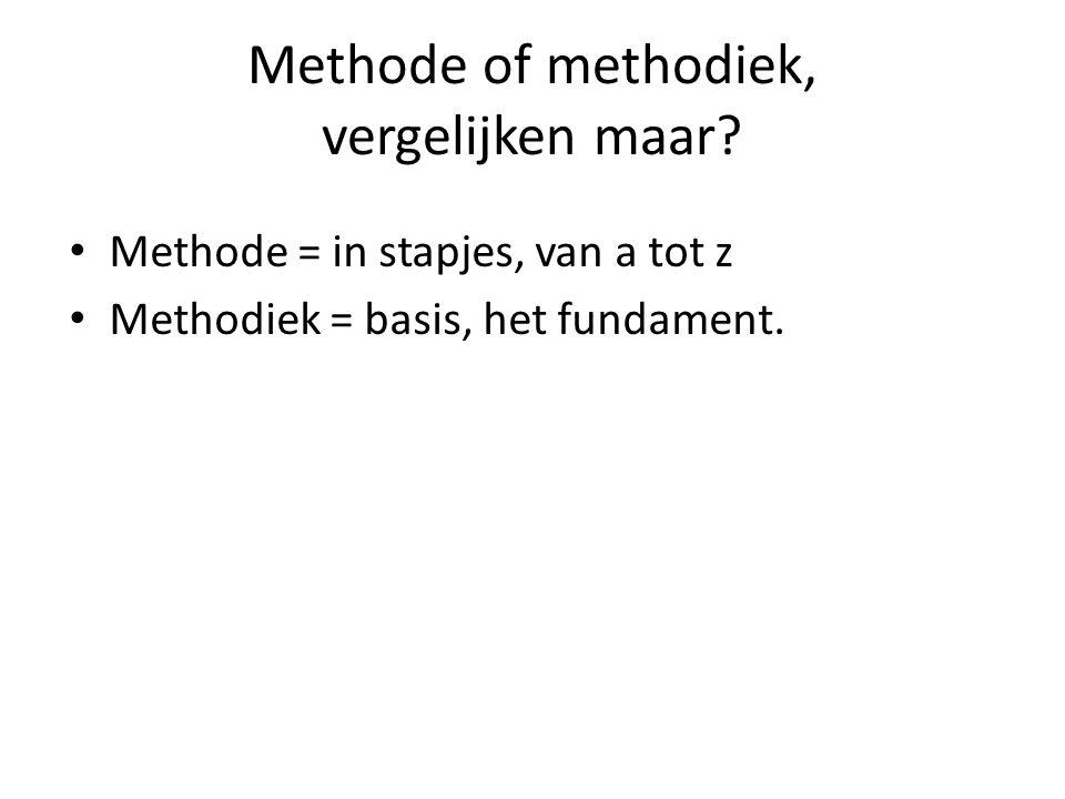 Methode of methodiek, vergelijken maar