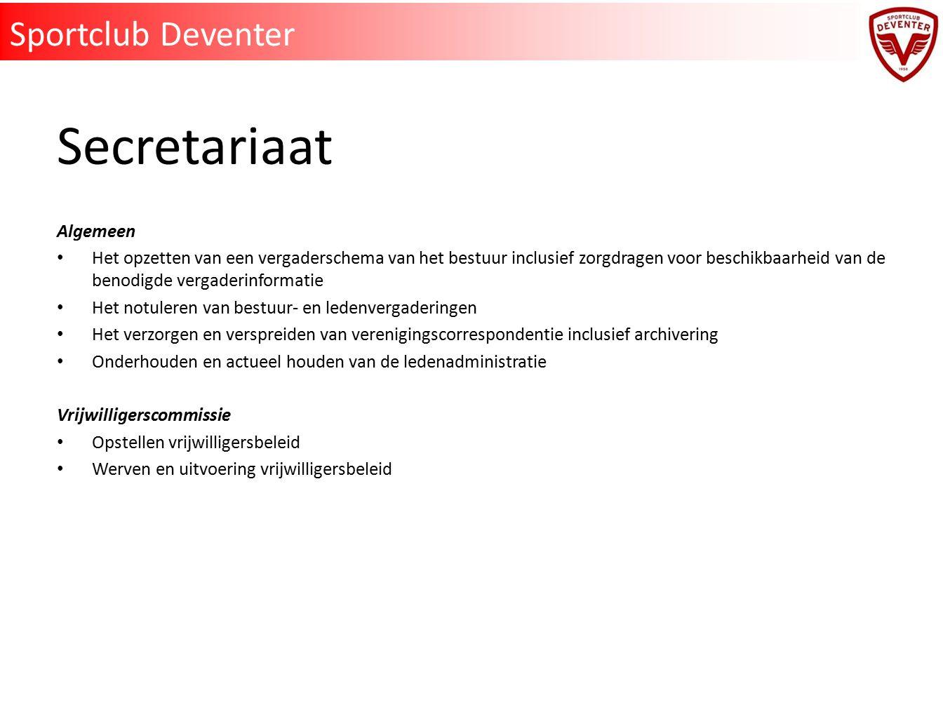 Secretariaat Sportclub Deventer Algemeen