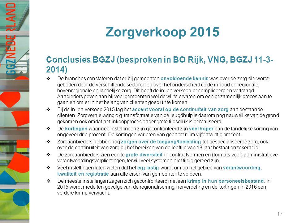 Zorgverkoop 2015 Conclusies BGZJ (besproken in BO Rijk, VNG, BGZJ 11-3-2014)