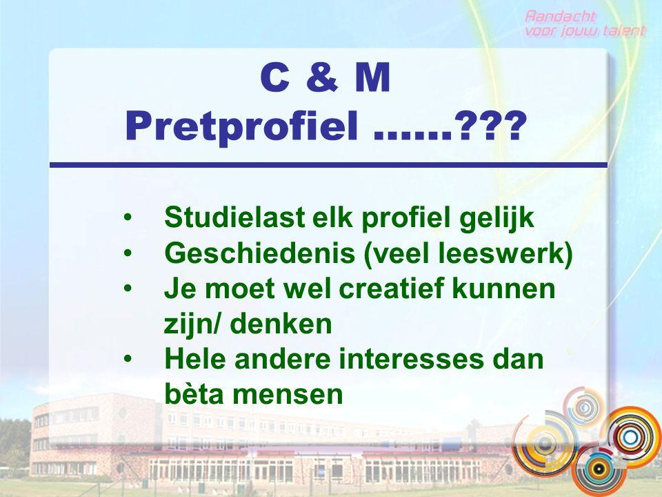 C & M Pretprofiel …… Studielast elk profiel gelijk