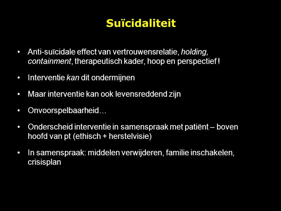 Suïcidaliteit Anti-suïcidale effect van vertrouwensrelatie, holding, containment, therapeutisch kader, hoop en perspectief !
