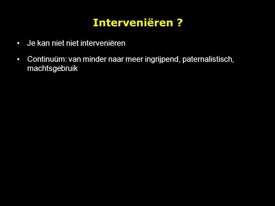 Interveniëren Je kan niet niet interveniëren
