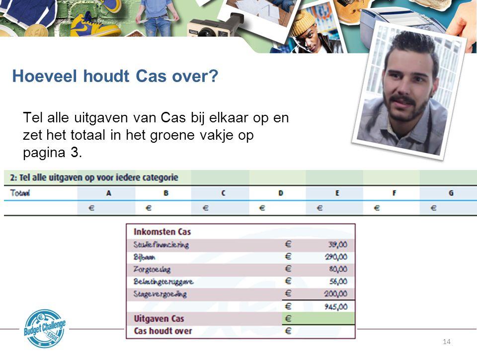 Hoeveel houdt Cas over Tel alle uitgaven van Cas bij elkaar op en zet het totaal in het groene vakje op pagina 3.