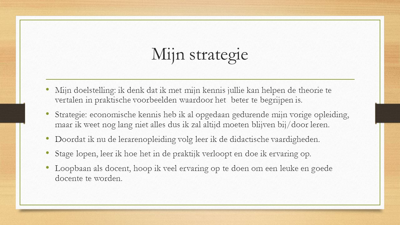 Mijn strategie
