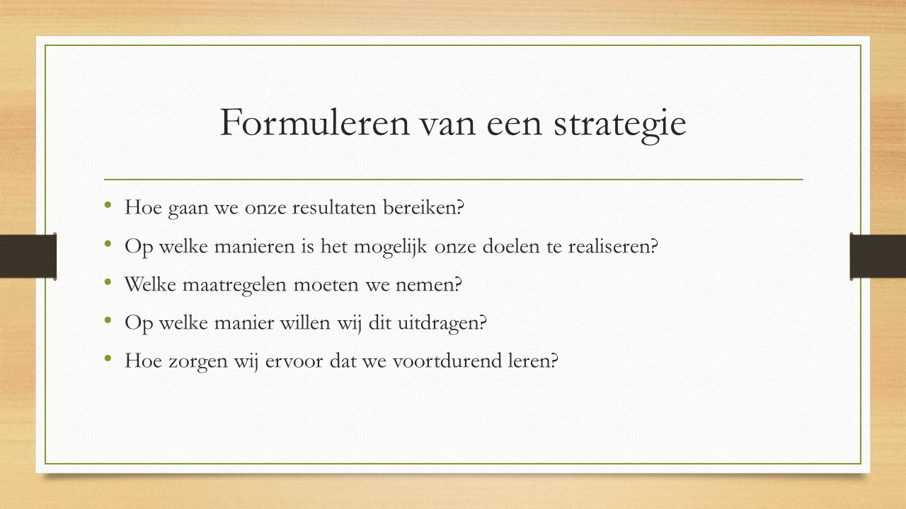 Formuleren van een strategie
