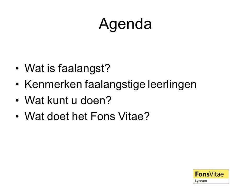 Agenda Wat is faalangst Kenmerken faalangstige leerlingen