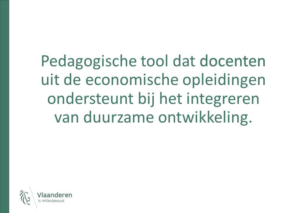 docenten Pedagogische tool dat docenten uit de economische opleidingen ondersteunt bij het integreren van duurzame ontwikkeling.