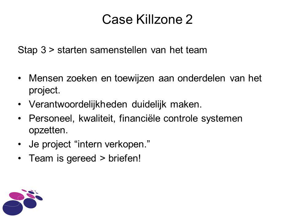 Case Killzone 2 Stap 3 > starten samenstellen van het team