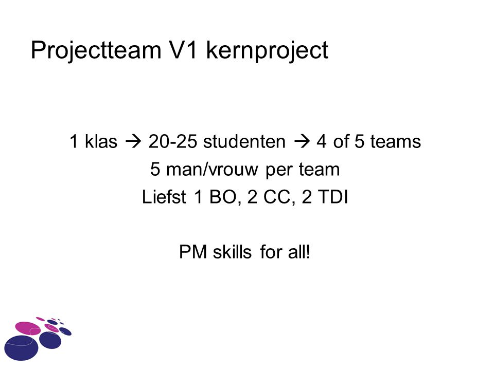 Projectteam V1 kernproject