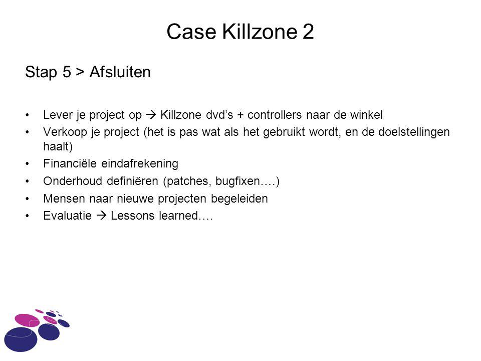Case Killzone 2 Stap 5 > Afsluiten