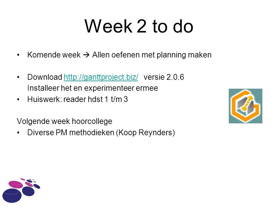 Week 2 to do Komende week  Allen oefenen met planning maken