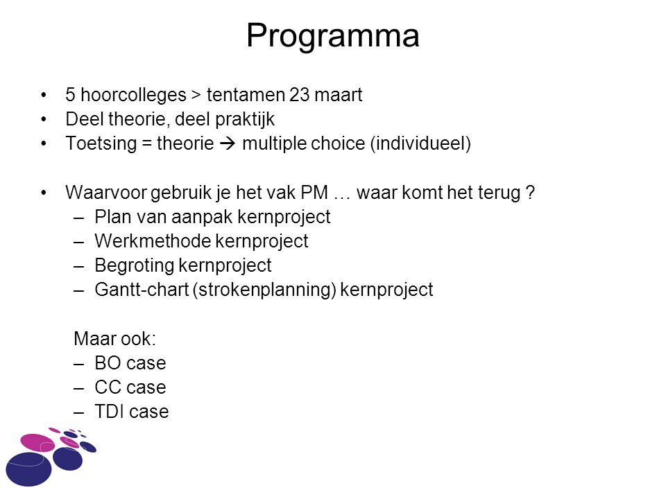 Programma 5 hoorcolleges > tentamen 23 maart