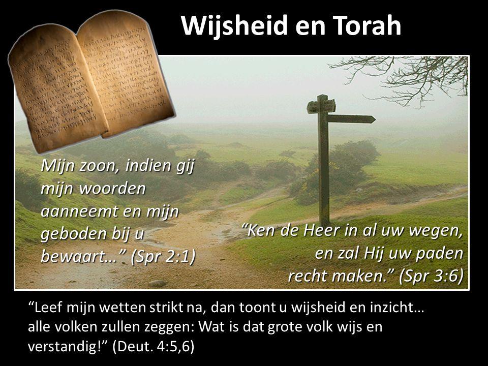 Wijsheid en Torah Mijn zoon, indien gij mijn woorden aanneemt en mijn geboden bij u bewaart… (Spr 2:1)