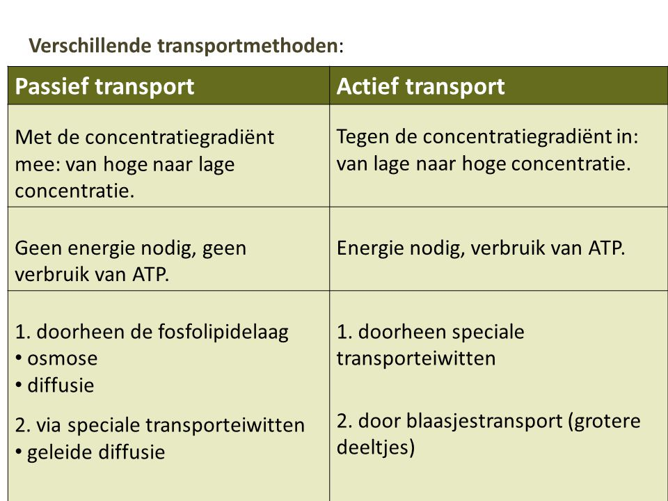 2. door blaasjestransport (grotere deeltjes)