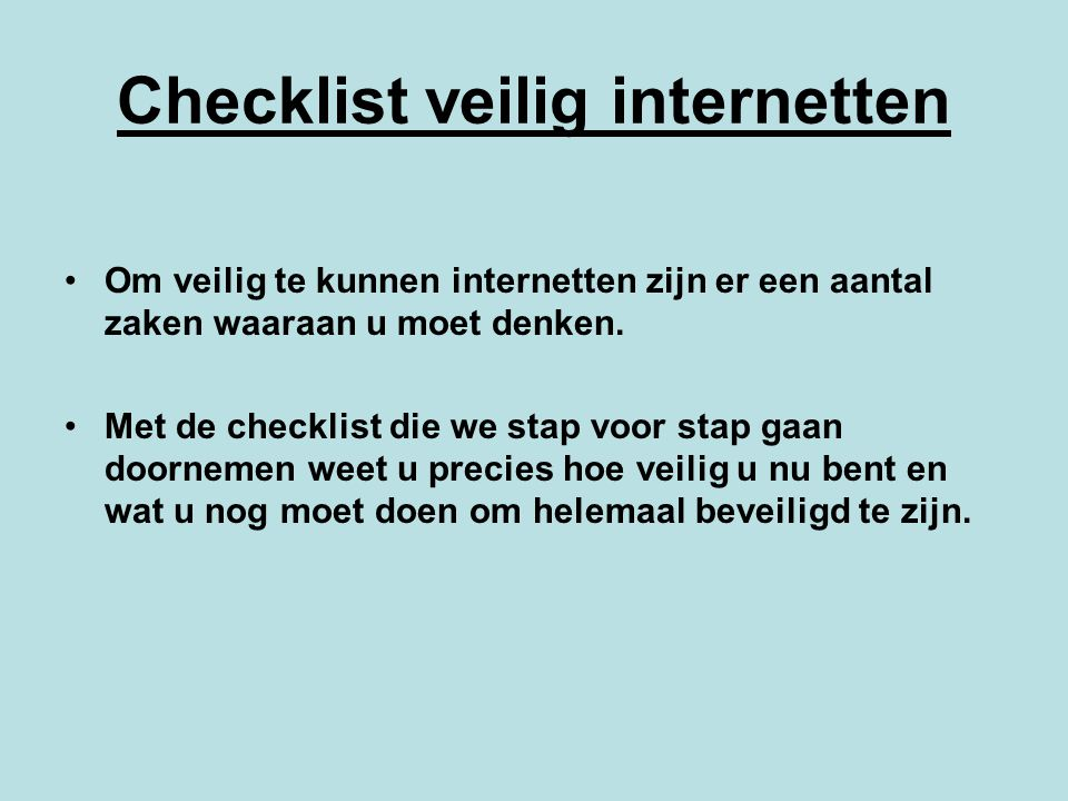 Checklist veilig internetten