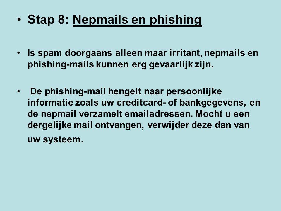 Stap 8: Nepmails en phishing