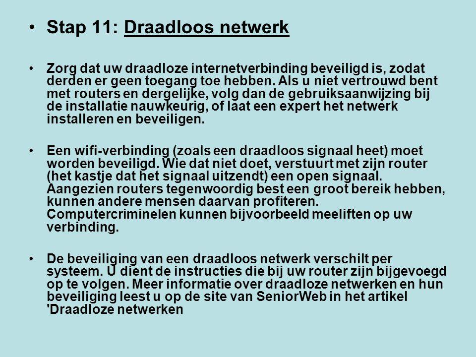 Stap 11: Draadloos netwerk