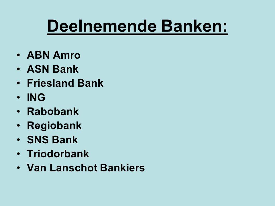 Deelnemende Banken: ABN Amro ASN Bank Friesland Bank ING Rabobank