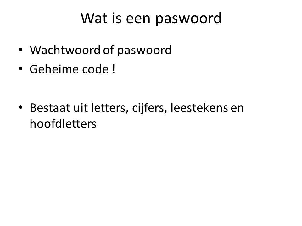 Wat is een paswoord Wachtwoord of paswoord Geheime code !