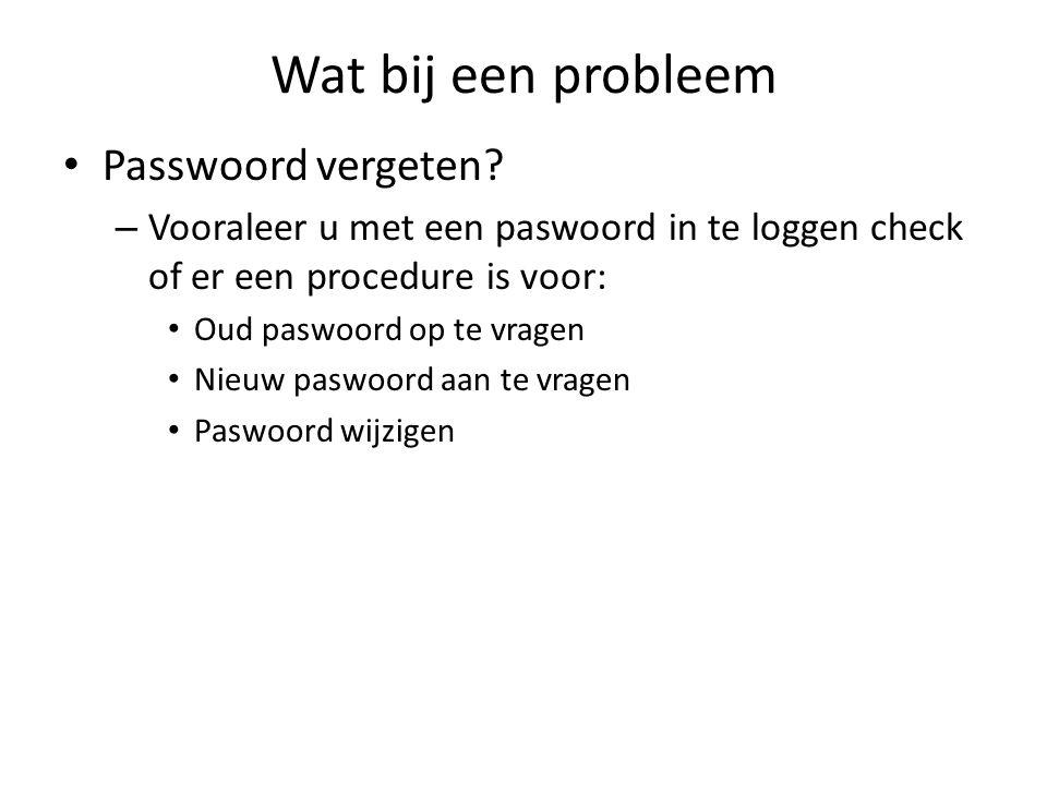 Wat bij een probleem Passwoord vergeten