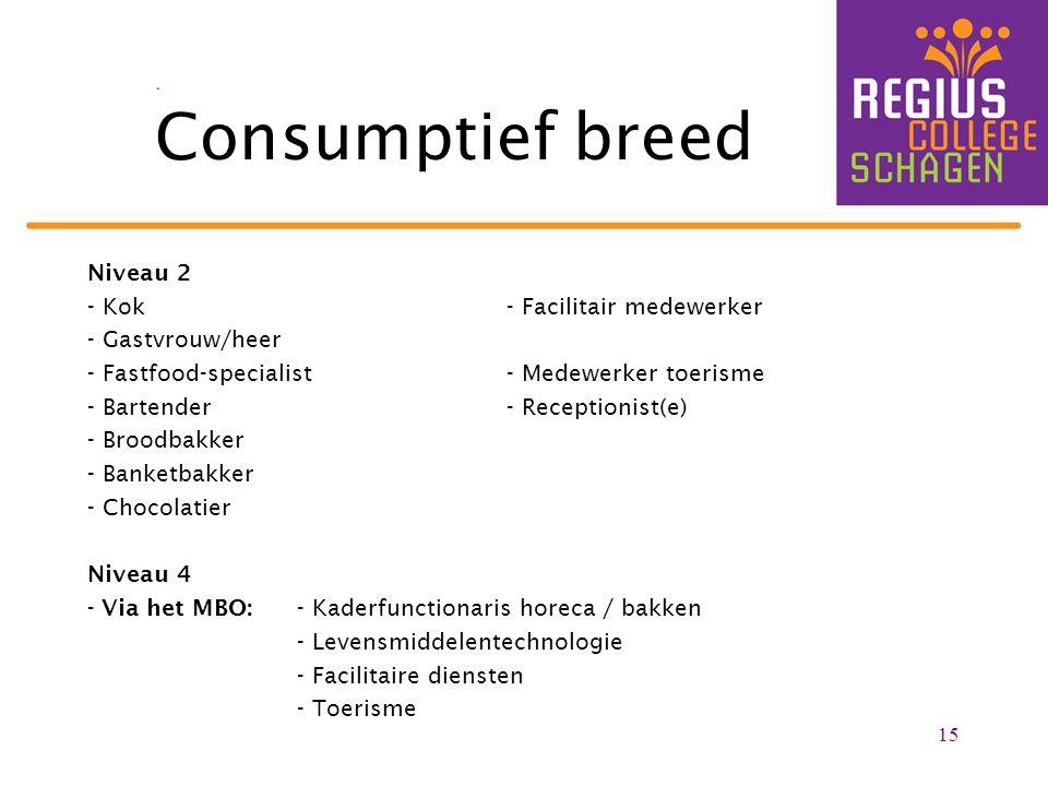 Consumptief breed Niveau 2 - Kok - Facilitair medewerker