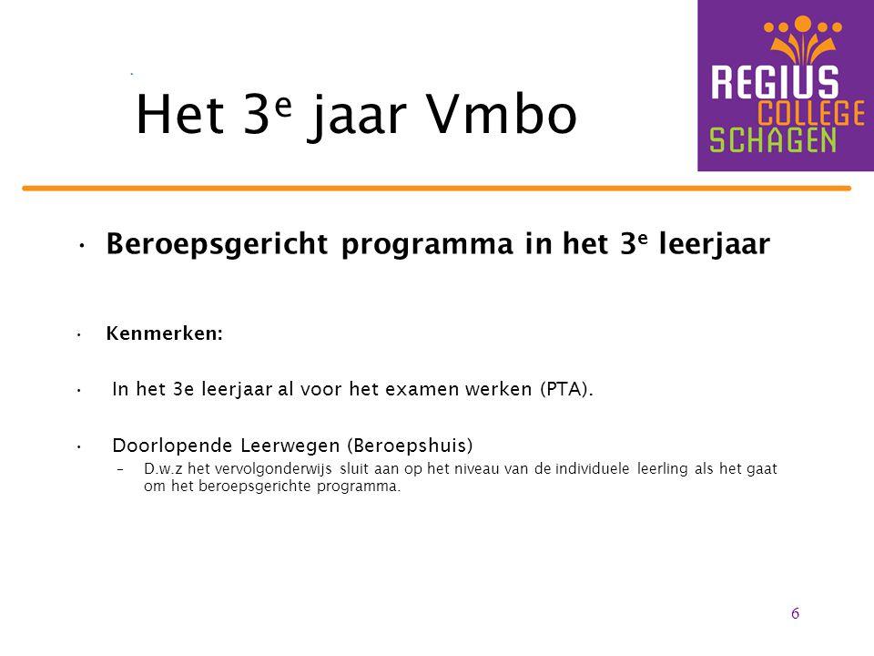 Het 3e jaar Vmbo Beroepsgericht programma in het 3e leerjaar
