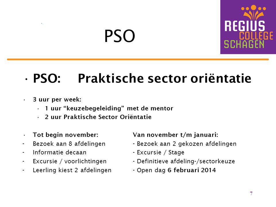 PSO PSO: Praktische sector oriëntatie 3 uur per week: