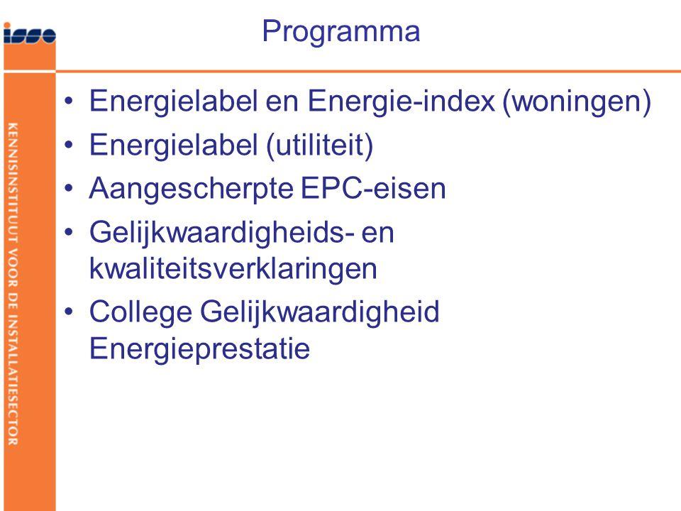 Programma Energielabel en Energie-index (woningen) Energielabel (utiliteit) Aangescherpte EPC-eisen.