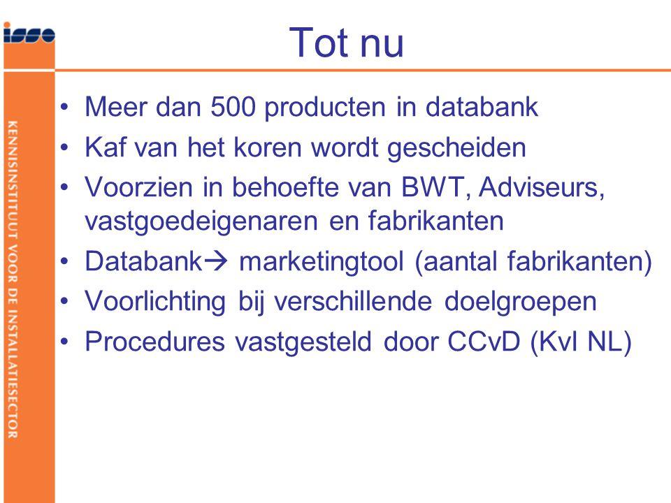 Tot nu Meer dan 500 producten in databank