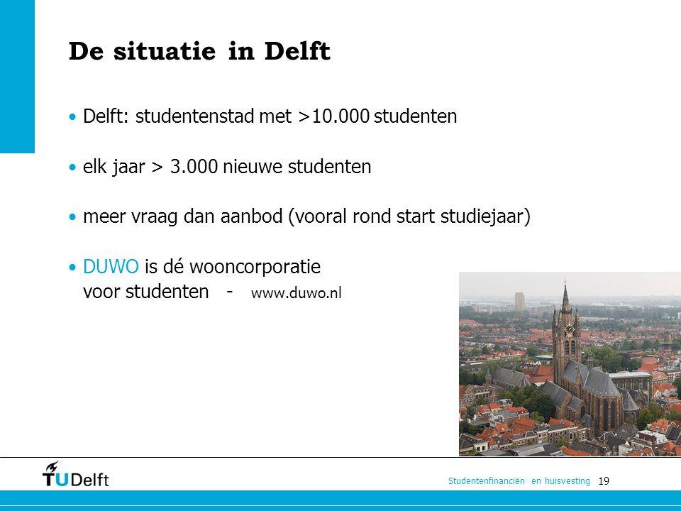 De situatie in Delft Delft: studentenstad met >10.000 studenten