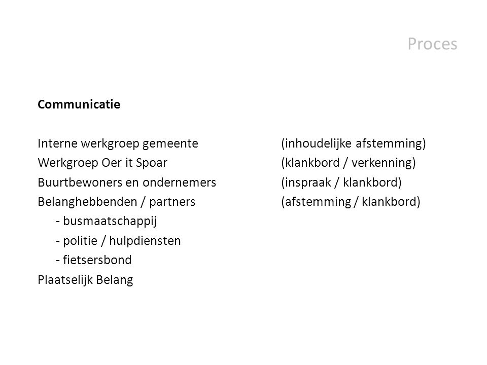 Proces Communicatie. Interne werkgroep gemeente (inhoudelijke afstemming) Werkgroep Oer it Spoar (klankbord / verkenning)