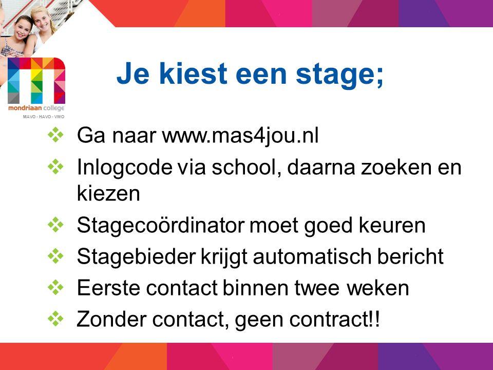 Je kiest een stage; Ga naar www.mas4jou.nl