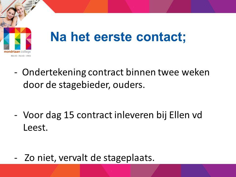 Na het eerste contact; - Ondertekening contract binnen twee weken door de stagebieder, ouders. Voor dag 15 contract inleveren bij Ellen vd Leest.