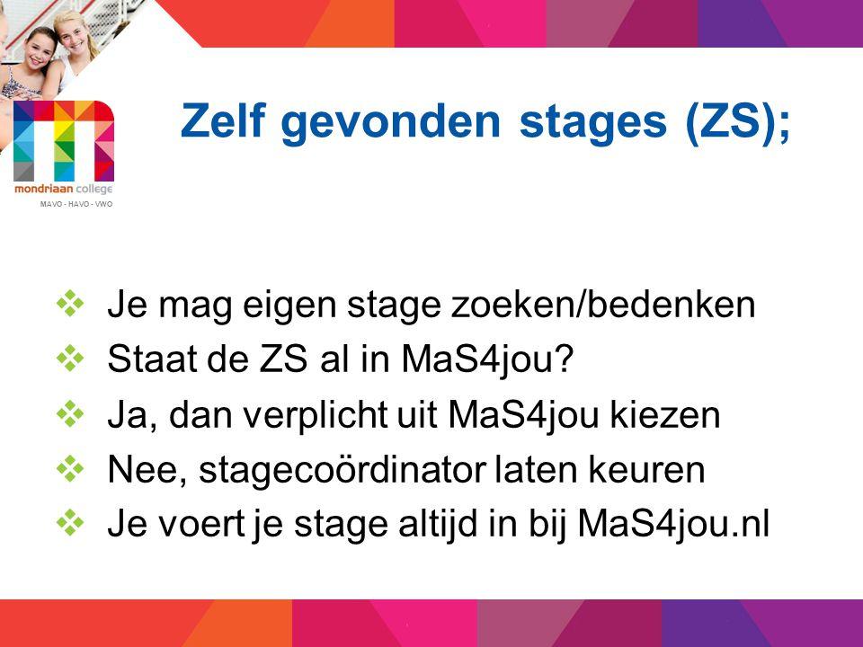 Zelf gevonden stages (ZS);