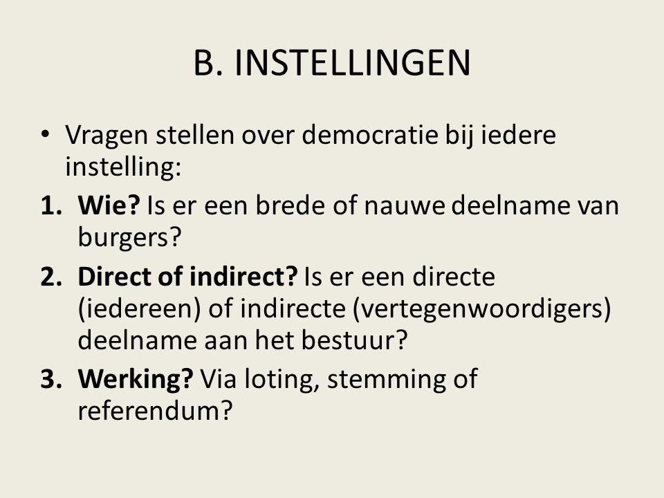 B. INSTELLINGEN Vragen stellen over democratie bij iedere instelling: