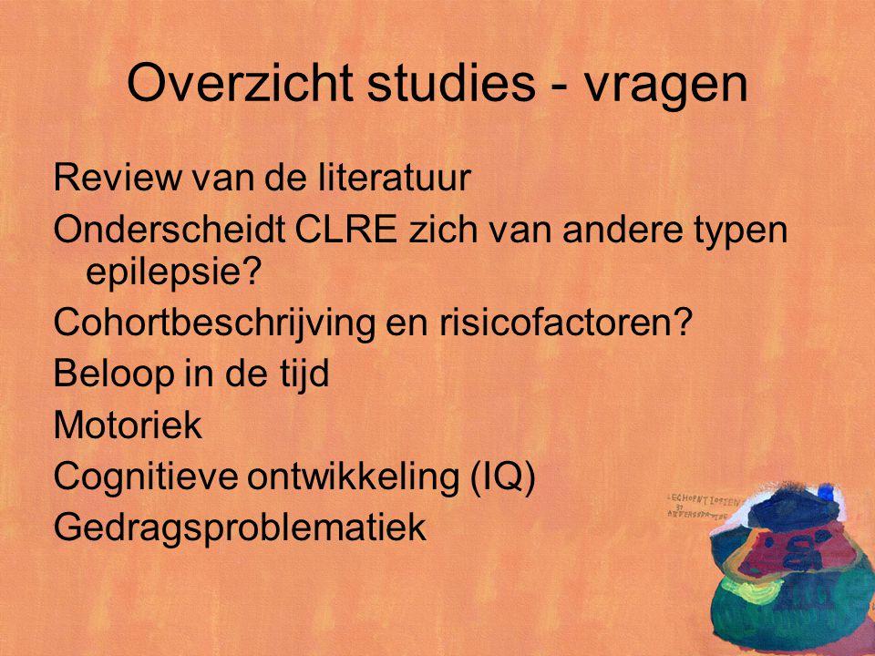 Overzicht studies - vragen