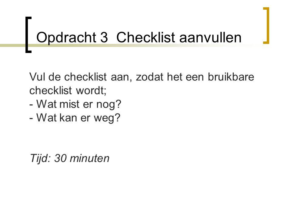 Opdracht 3 Checklist aanvullen