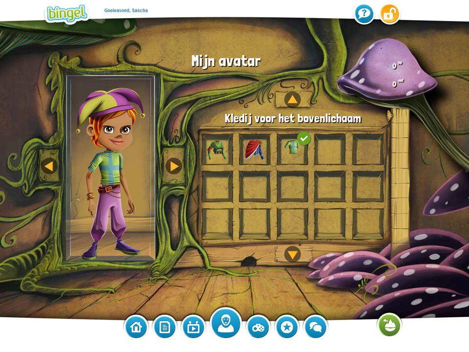 Het avatarscherm waar leerlingen hun avatar kunnen personaliseren.