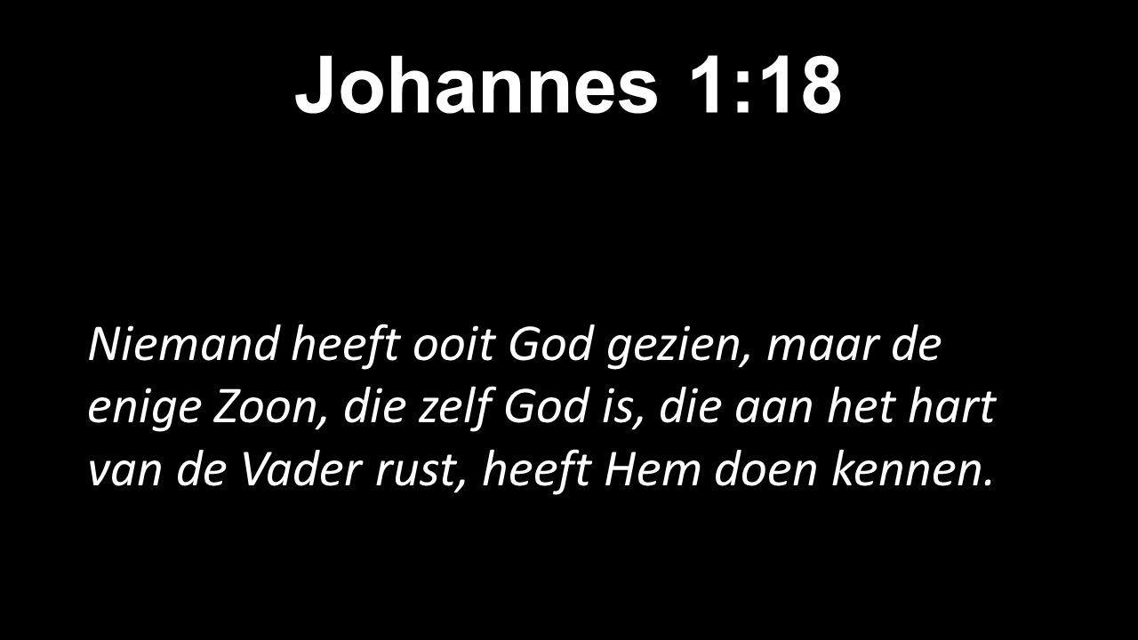 Johannes 1:18 Niemand heeft ooit God gezien, maar de enige Zoon, die zelf God is, die aan het hart van de Vader rust, heeft Hem doen kennen.